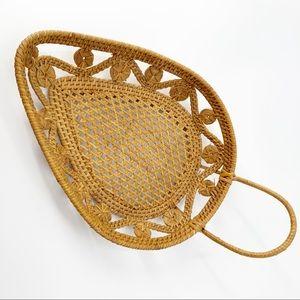 Vintage Wicker Leaf Teardrop Basket Tray